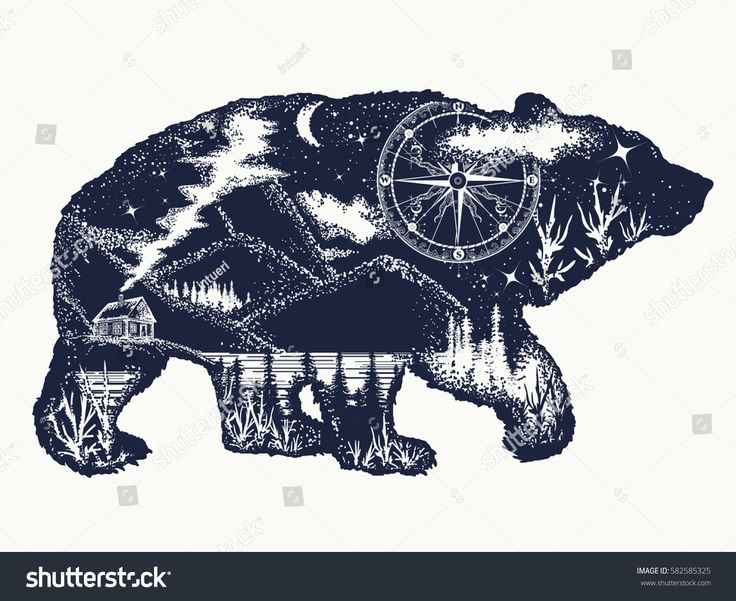 bear double exposure tattoo art  tourism symbol  adventure  great outdoor  mountains  compass