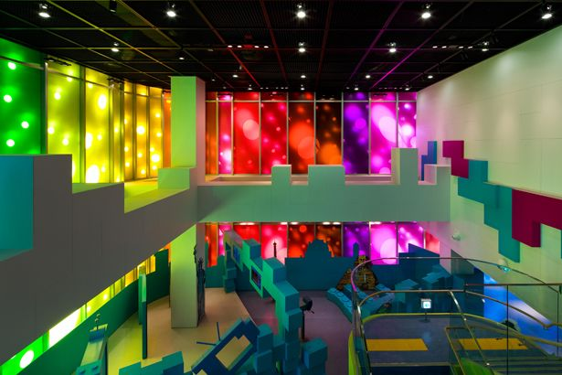 Incheon Children Science Museum | Haeahn Architecture | Photo: Park Youngchae | Archinect. Depth of space through bold colors.