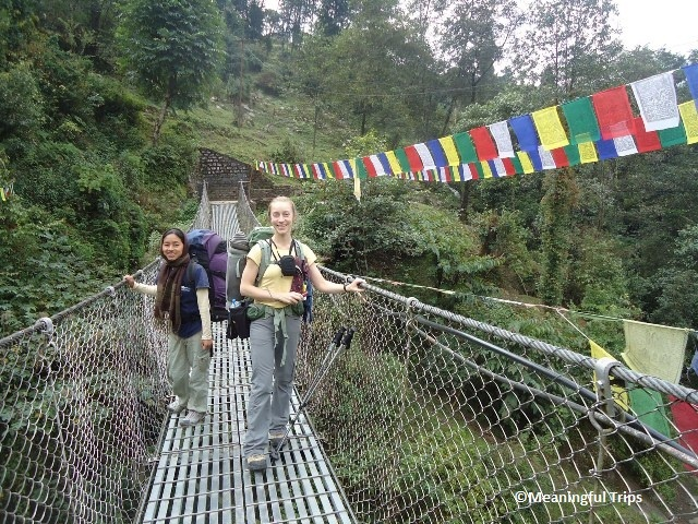 Meaningful Trips Sanctuary Trek -   Lodge to Lodge Trek through beautiful bamboo and rhododendron forests passing Chomrong, Durali and ultimately, Annapurna Base Camp at 13,550', Enjoy 360 degree views of Annapurna range -- Machhapuchre, Annapurna South, Annapurna I, and more.