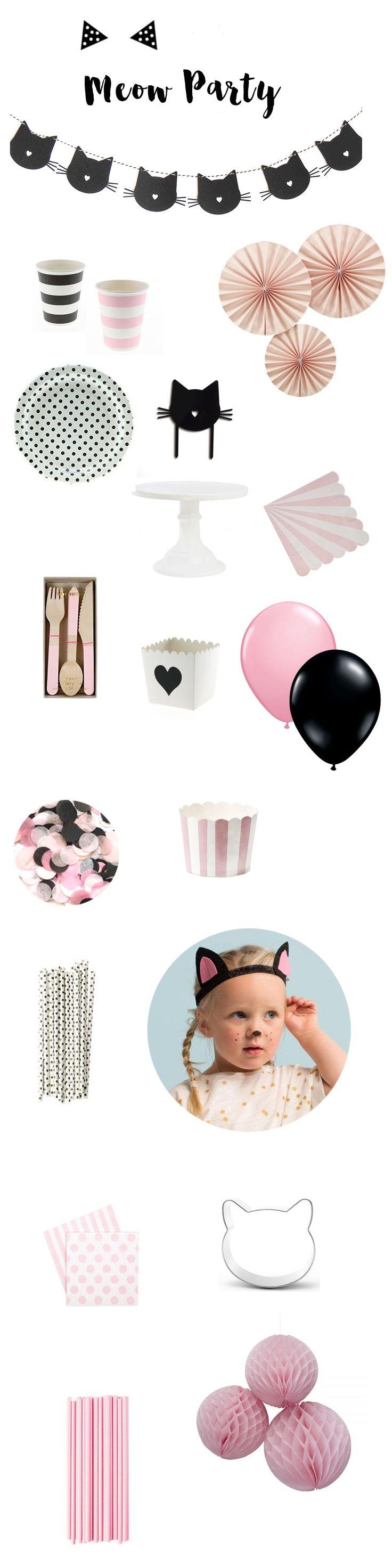 Vaisselle et accessoires de décoration pour une sweet table sur le thème des chats à retrouver sur www.rosecaramelle.fr #sweettable #chat #chatparty #catparty #anniversaire #candybar #babyshower #birthday #catparty