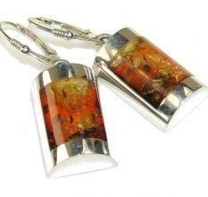 Beautiful Polish Amber Sterling Silver Earrings