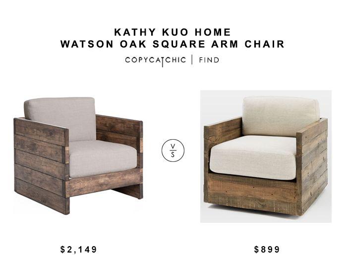 Kathy Kuo Home Watson Oak Square Arm Chair Copycatchic
