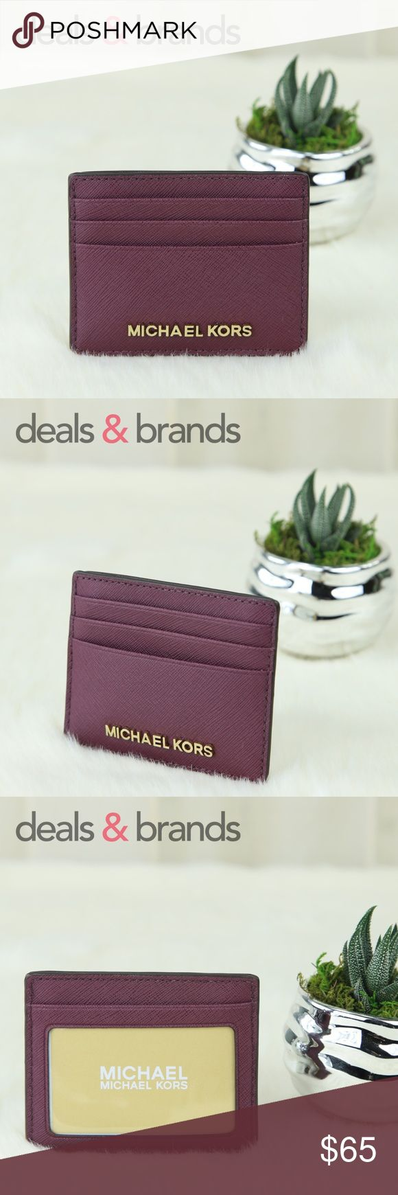 "NWT MICHAEL KORS Jet Set Travel Card Holder Plum MICHAEL KORS   JET SET TRAVEL SAFFIANO LEATHER LG Card Holder 35H6GTVD7L in PLUM ITEM NO: 35H6GTVD7L RETAIL PRICE: $68.00 COLOR: Plum CONDITION: NEW with TAGS   Saffiano Leather with matching trim Gold tone hardware Open top closure Michael Kors lettering logo on front 3 credit card slots on front, ID window at the back 1 multi-function slip open pocket in the middle Michael Kors signature logo fabric lining 4""(W) x 3.25""(H) Michael Kors Bags…"