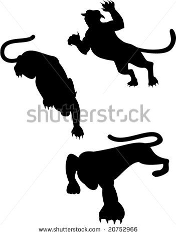 Big cat silhouettes  #cougar #silhouette #illustration