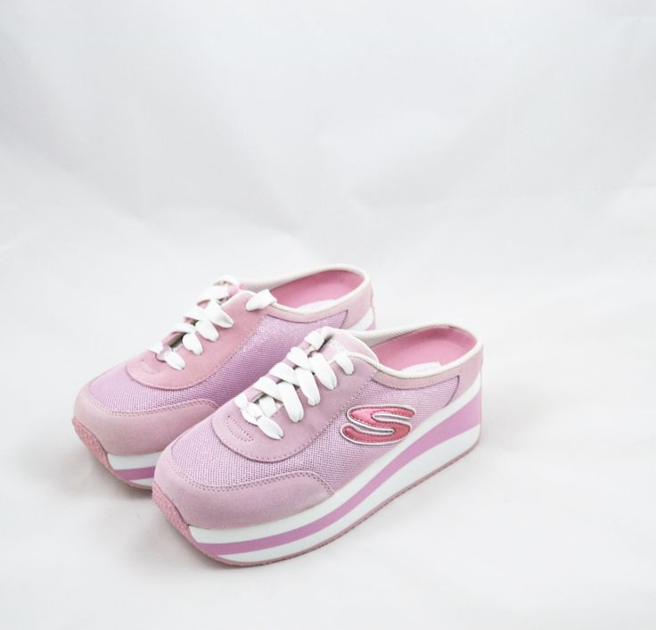 """ON SALE 10% OFF $172.80 """"Click Here to Purchase Now"""" Vintage 90s Skechers Sneakers Platform Sneakers Skechers Platform Shoes Pink and White Sneakers Slip on Shoes Spice Girls Size 8.5 by founditinatlanta on Etsy"""