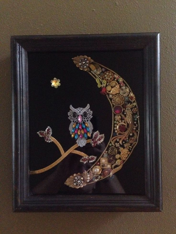 "OOAK Framed 10"" X 12"" Owl Inside Crescent Moon Collage Wall Art Vintage Jewelry 