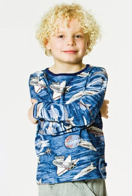 Smafolk l/s tee - Spaceship - Grey mix Retro Baby Clothes - Baby Boy clothes - Danish Baby Clothes - Smafolk - Toddler clothing - Baby Clothing - Baby clothes Online