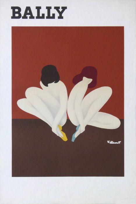 litho bally lotus : 1974 affiches anciennes de VILLEMOT Bernard