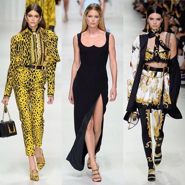 A tribute to the 1990s by @versace_official. Swipe left!/ Шёлковые платки золотой орнамент деним и морские мотивы в весенне-летней коллекции Донателлы Версаче. Листайте влево и ищите все луки на Vogue.ru!  via VOGUE RUSSIA MAGAZINE OFFICIAL INSTAGRAM - Fashion Campaigns  Haute Couture  Advertising  Editorial Photography  Magazine Cover Designs  Supermodels  Runway Models