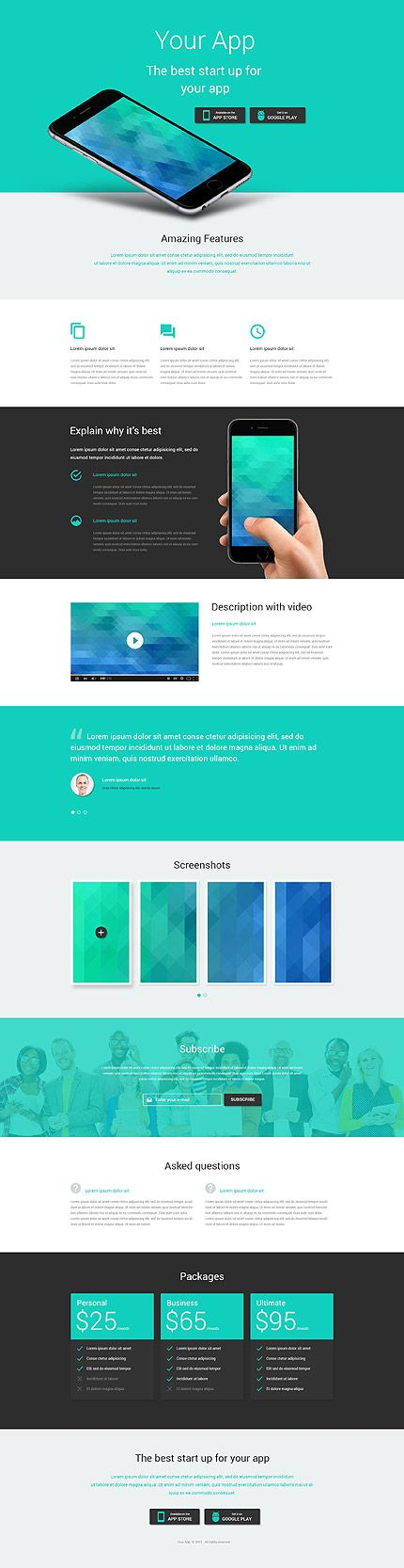 Template 53973 - Your Apps  Responsive Landing Page Template