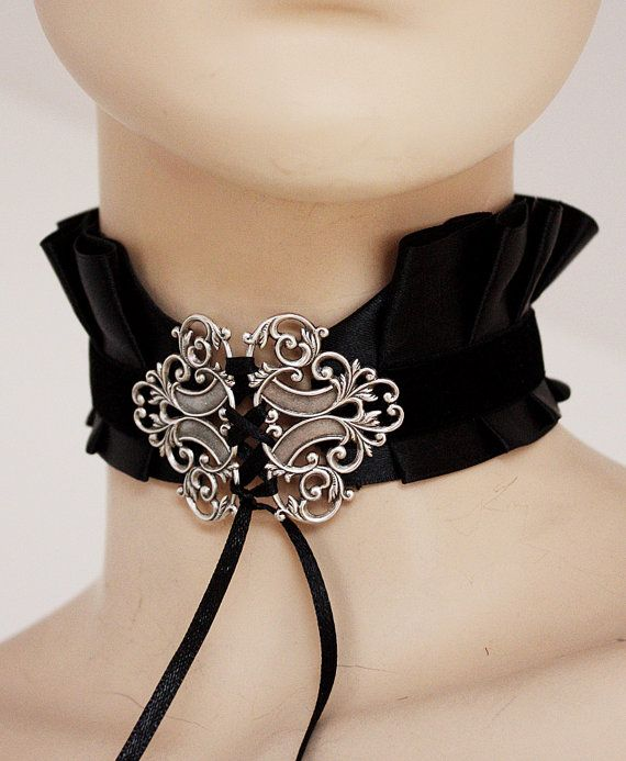"Gothic necklace victorian neck corset. could put the ""x"" logo on the choker"