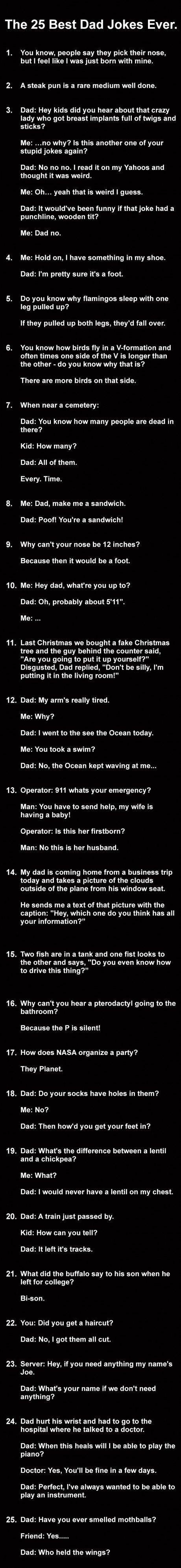 25 Dad Jokes.