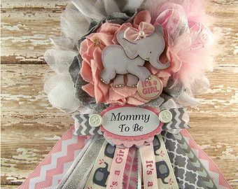 Pink Elephant Mom To Be Corsage Pink and Gray Chevron Girl Elephant Baby Shower Mommy Badge Mommy to Be Corsage