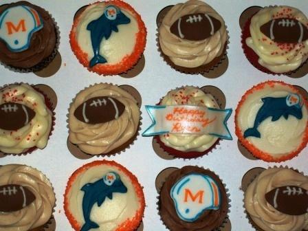 Miami Dolphins Football cupcakes!