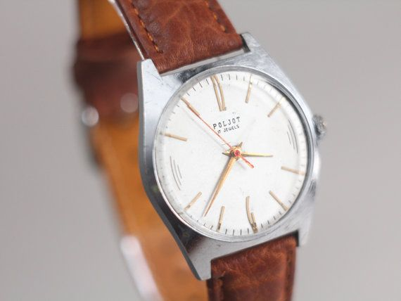 Men's vintage watch Poljot  soviet watch man  white by somesoviet