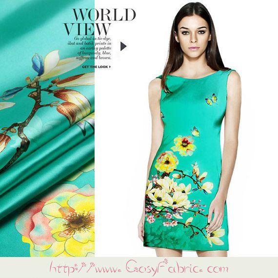 magnolia denudata and butterfly print silk stretch satin fabric designer fashion floral silk dress fabric by the yard