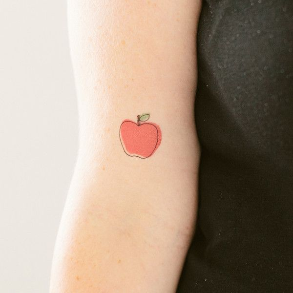 Red pretty apple tattoo