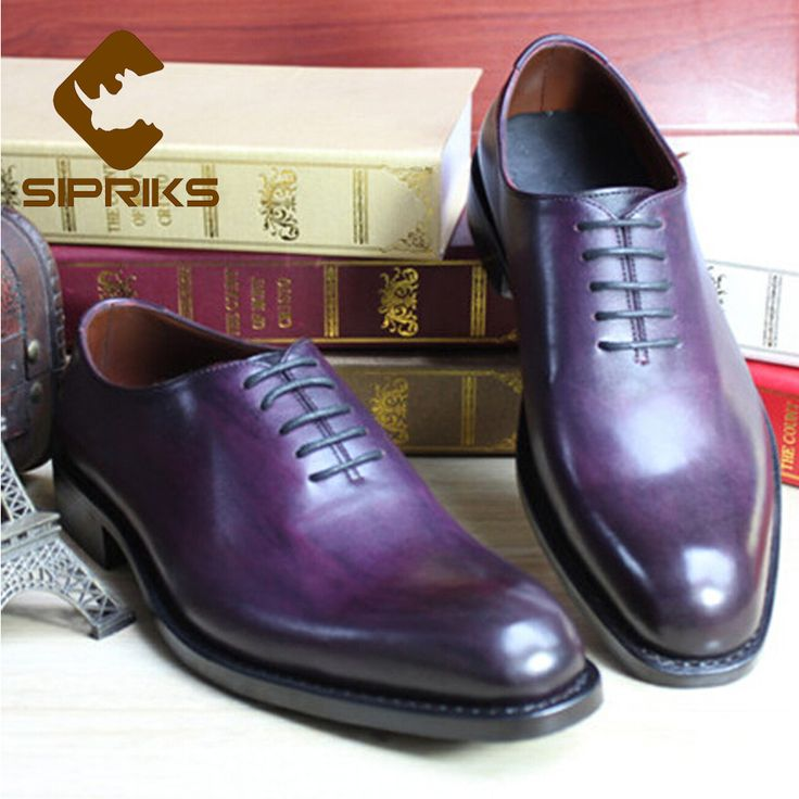 2017 Luxury Mens Goodyear Welted Shoes Imported Leather Boss Mens Purple Dress Shoes Italian Men Suit Shoes Grooms Wedding Shoes