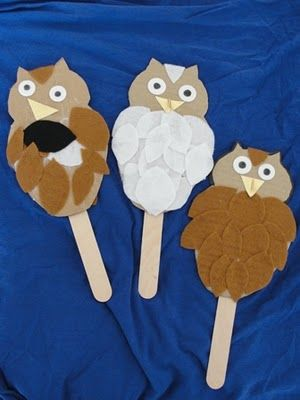 "easy craft for the kids. they can glue on the feathers, face. we could even write a bible verse or a characteristic (""wisdom"") on the sticks."