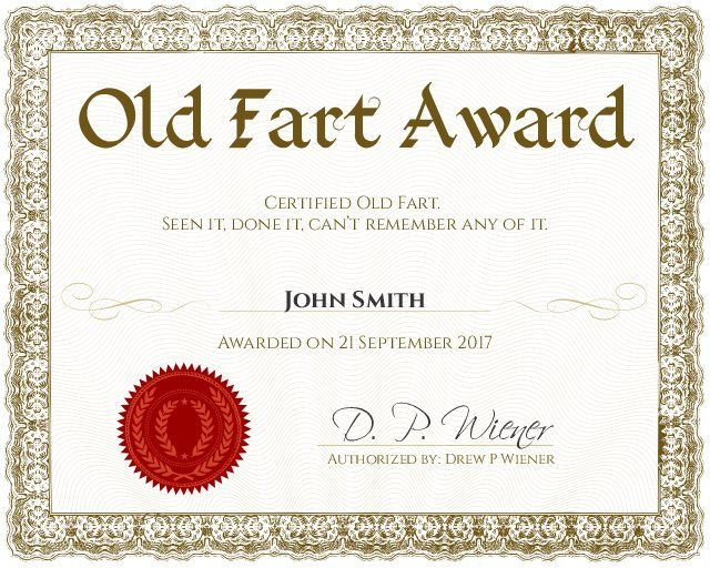Old Fart Certificate - Customizable with the free online certificate maker