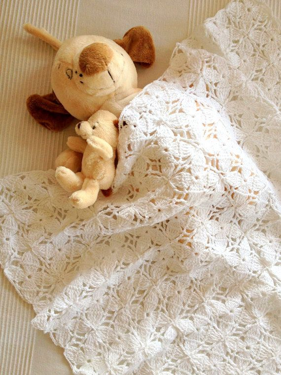White Lace Pure Bamboo Square New Born Baby  Blanket by allapples, $65.00