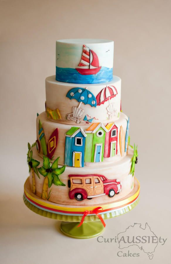 Beach vacation cake