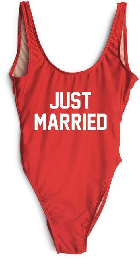 083832ecaa163 Etsy Just Married Swimsuit. Bride Bathing Suit. Bride Swim. One Piece Swim.
