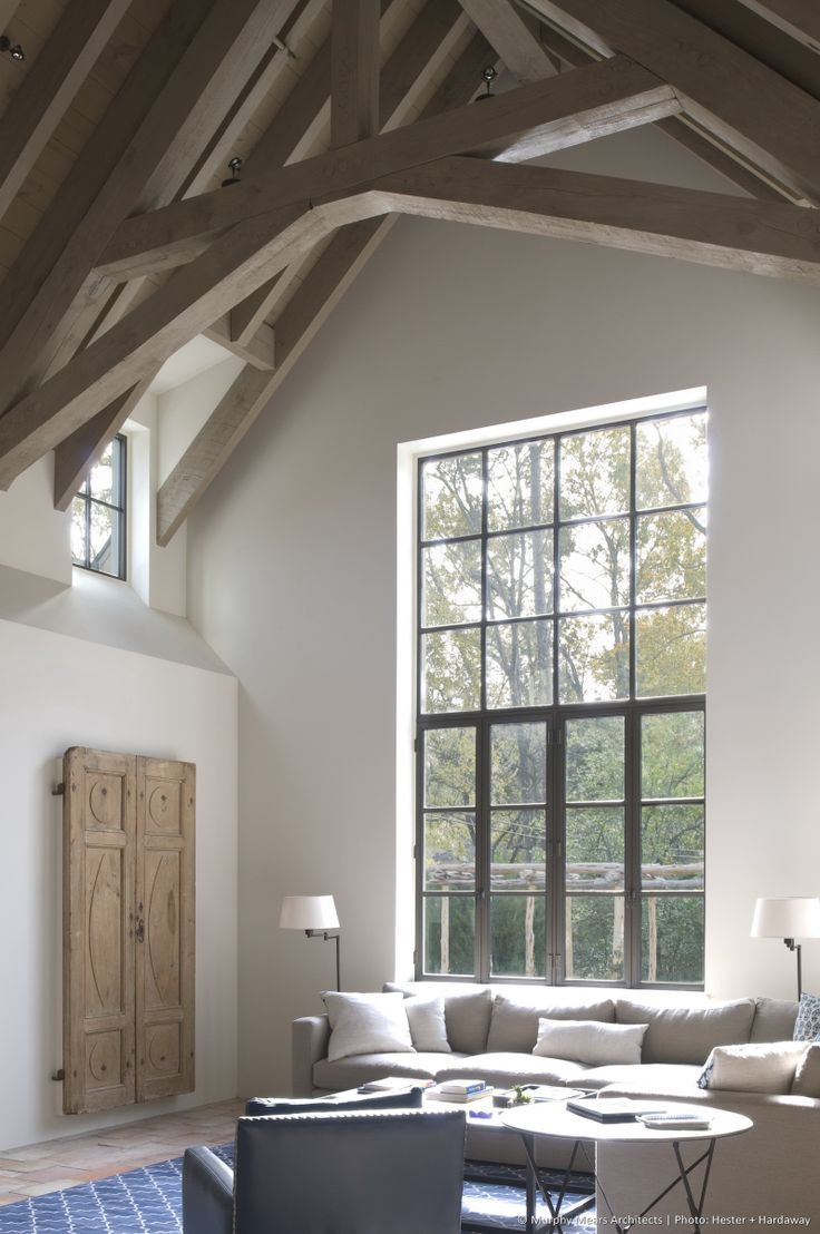 Books rustic architecture interior living room bathroom shower windows - Beams Large Window With Natural Light Elegant And Rustic Combined