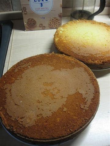Žloutky s cukrem, extraktem a máslem vyšleháme do hladkého krému cca 8 minutek mixérem. Bílky ušleháme na sníh. Do krému přišleháme mléko a mouku...