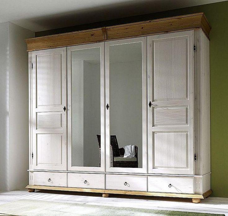Fancy Massivholz Kleiderschrank mit Spiegelt ren XL SAM Dielenschrank Kiefer massiv Holz Oberfl che wei antik wei Ma e x x cm B H T