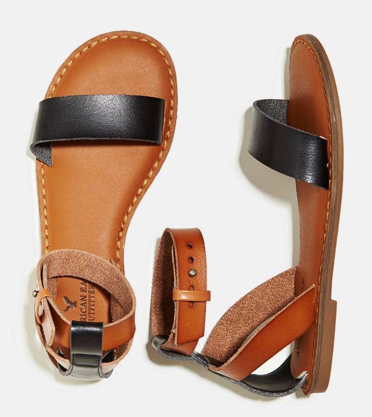 AE Ankle Strap Sandal in Black.