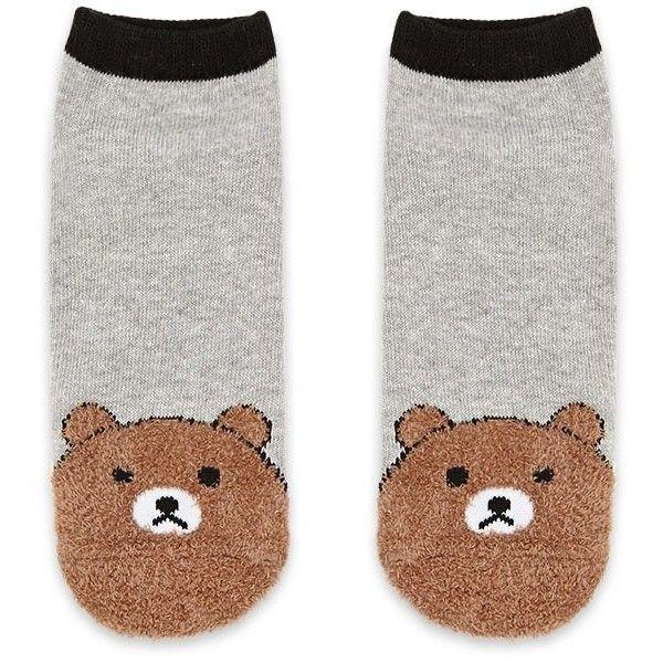 Forever21 Fuzzy Bear Print Ankle Socks ($2.90) ❤ liked on Polyvore featuring intimates, hosiery, socks, forever 21, bear socks, forever 21 socks, fuzzy socks and short socks
