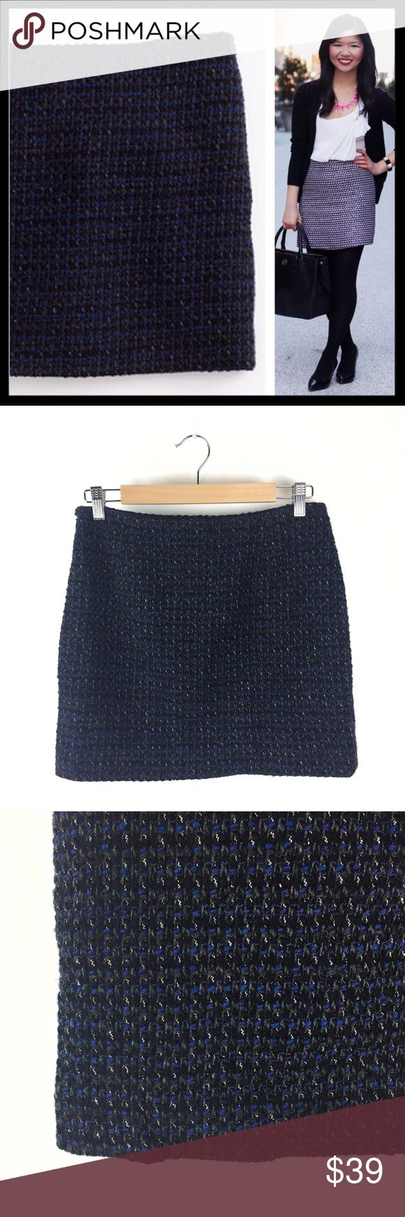 """j. crew // sapphire tweed mini skirt Such a cute skirt for fall and winter! Beautiful sapphire blue strands woven with gray and black. Sits lower on waist. Side zip. Fully lined 16"""" long. Wool/acrylic. Made exclusively for J.Crew Factory. Gently worn and in great condition. J. Crew Skirts Mini"""