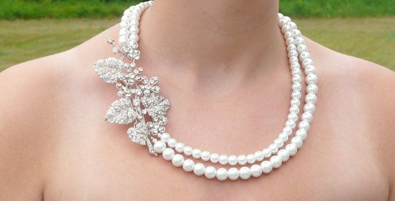 Bridesmaids Pearl Bridal Jewelry Chunky Pearl Necklace by LilykayCouture, $75.00