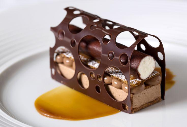 Hazelnut Semi-Freddo, Chocolate and Vanilla.   http://www.theritzlondon.com/Dinner-Restaurant.html