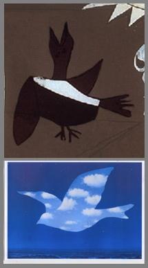SYMBOLES ET RÉFÉRENCES DANS GUERNICA. À peine visible, cet oiseau pourrait être une colombe, comme celle de René Magritte, peintre belge surréaliste. La colombe est symbole de paix et d'espoir. Mais ici, elle est presque invisible, seul un fin cerne la différencie du fond. La paix est lointaine, l'espoir mince.
