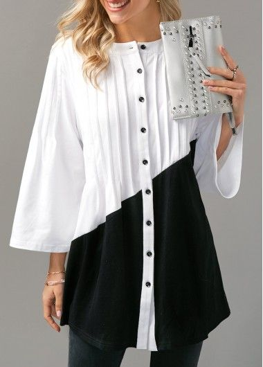 Color Block Pintuck Button Up Blouse on sale only US$30.16 now, buy cheap Color Block Pintuck Button Up Blouse at liligal.com