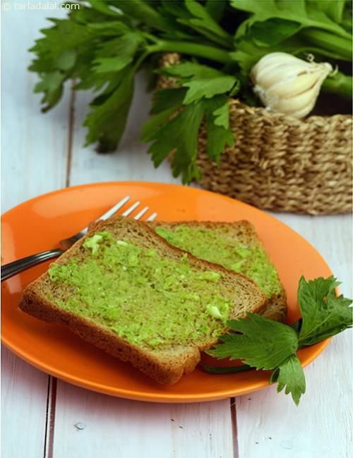 Celery Garlic Toast, a delicious starter made with low-fat butter,celery and garlic ground together to make an aromatic spread. Serve it with your favourite soup or whole wheat pasta to make a wholesome meal.