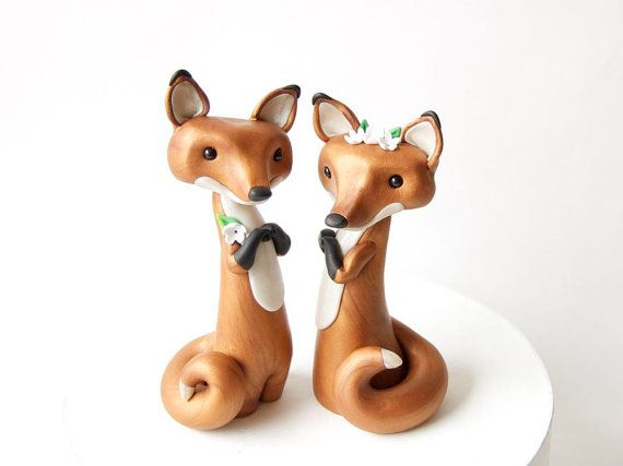 Damn it why do they have to be sooo cute!!!   Red Fox Wedding Cake Topper  Two Red Foxes by by BonjourPoupette, $150.00