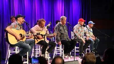 PHOTO: David Marks, Al Jardin, Brian Wilson, Mike Love and Bruce Johnston of The Beach Boys perform at An Evening With The Beach Boys at The GRAMMY Museum, Sept. 18, 2012 in Los Angeles, California.