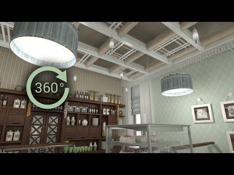 360° - 3D render   Интерьер   Кафе-кондитерская в стиле кантри - YouTube