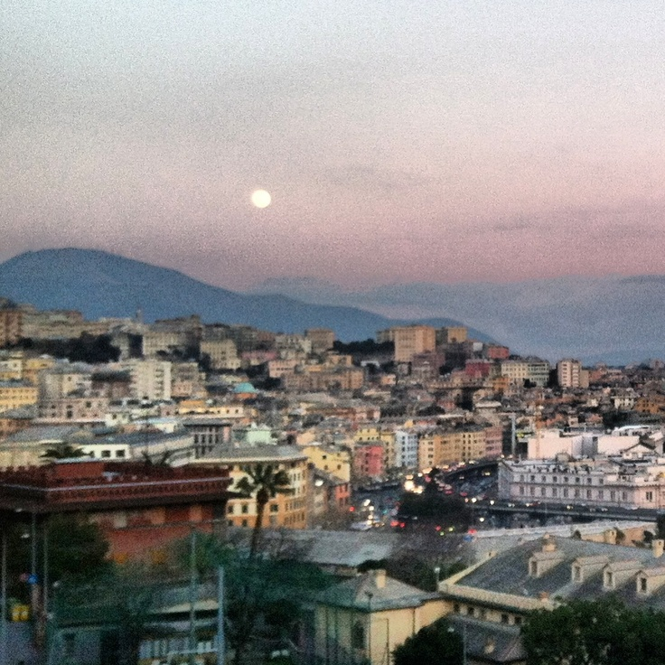 Well, it's a marvelous night for a moondance. Genoa, Liguria, Italy.