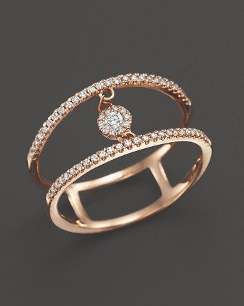 Diamond Double Row Ring with Cluster Center in 14K Rose Gold, .20 ct. t.w. | Bloomingdale's