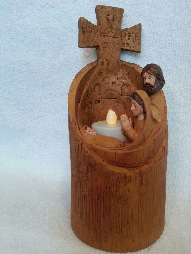 Wood Carved Nativity Candle Holder Christmas Decorations