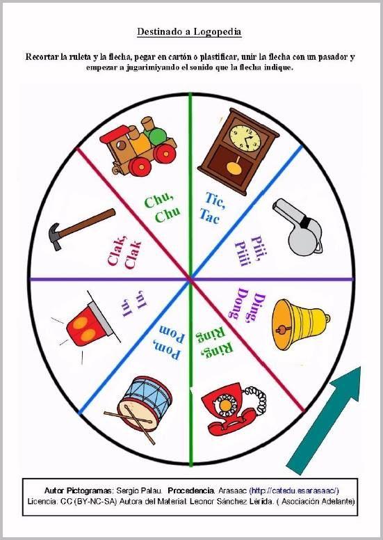 MATERIALES - Ruleta de los sonidos: Entorno.  Juego de la ruleta para trabajar las onomatopeyas a través de la imitación de sonidos del entorno.  http://arasaac.org/materiales.php?id_material=1158
