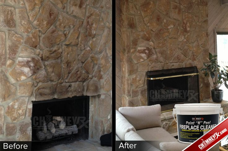 Smoke stains on a large stone fireplace - before and after ...