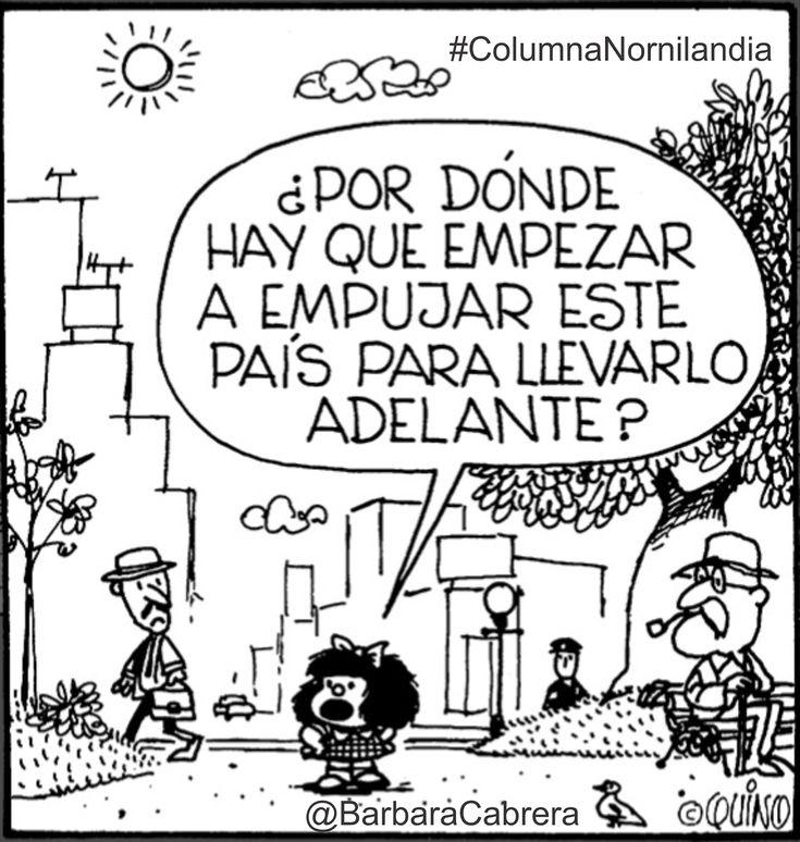 Mafalda - ¿Por dónde hay que empujar este país para llevarlo adelante?