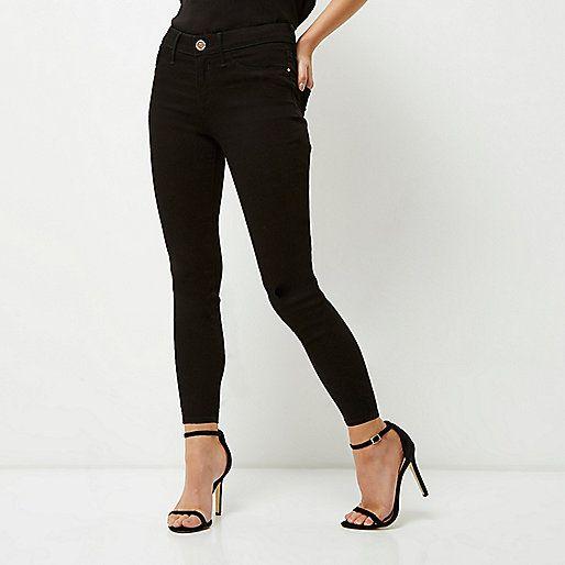 River Island - Petite black Molly jegging jeans | mid rise skinny fit, black power stretch denim.