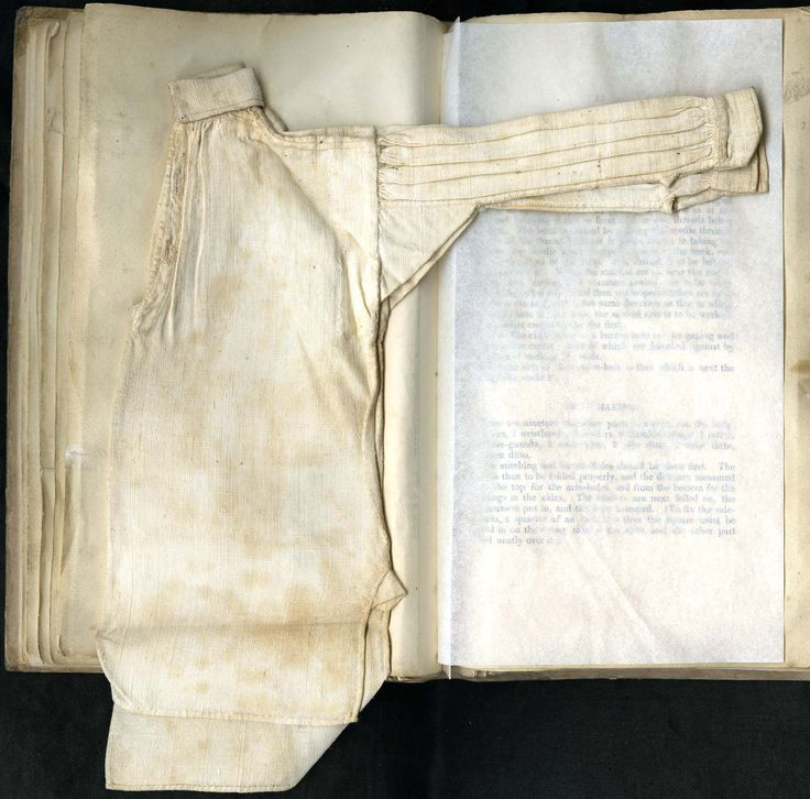 """""""The body is then to be folded properly, and the distance measured from the top for the armholes, and from the bottom for the openings in the sides""""  From """"Instructions on Needlework and Knitting as Derived from the Central School"""", p.13.  MMA 30.68.21"""
