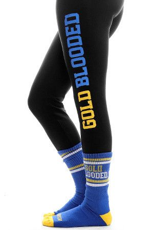 GOLD BLOODED Womenu0026#39;s Black/Royal Leggings | Warriors Womenu0026#39;s Leggings And Womenu0026#39;s